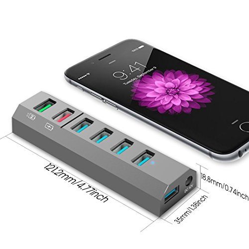 Aiibe 6-Ports USB 3.0 Hub Phone Charger with 24W Power Adapter and 1 Quick Charging Port & 1 Smart Charging Port for iPhone X/8/8s Plus, iPad, Galaxy S Series, Note Series, Mac, PC and More,Gray by Aiibe (Image #4)