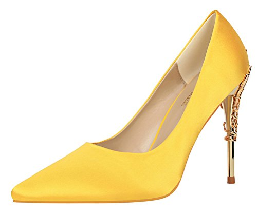T&Mates Womens Elegant Versatile Satin Pointed Toe Plated High Heel Wedding Dressy Pumps Shoes (8 B(M) US,Yellow)