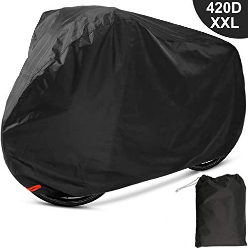 (EUGO Bike Cover 2 or 3 Bikes Outdoor Waterproof Bicycle Motorcycle Covers XXL 420D Oxford Fabric Rain Sun UV Dust Wind Proof Mountain Road Electric Bike )