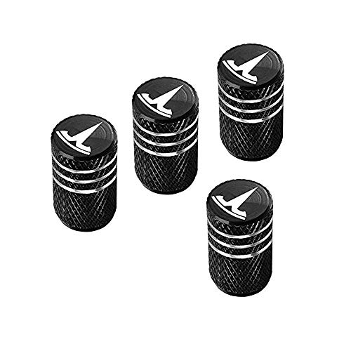 A ABIGAIL Car Tire Valve Stem Caps for Tesla Roadster Model S Model X Model 3 Universal for Car,Motorbike,Trucks,Bike and Bicycle Aluminum 4pcs (Black) ()