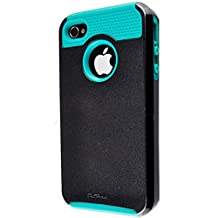 iPhone 4S Case, iPhone 4 Case, TPU + Pc Dual Layer Hybrid Fashion Shockproof Soft Hard Defender Case Cover for Apple iphone 4/ 4S (Black-Blue)