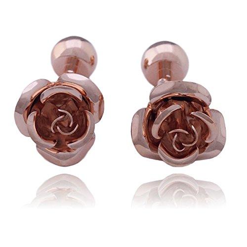 COS (TM) Rose Flower Metal Cuff Links (Rose Gold) (Gold Flower Link)