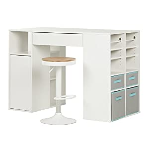 South shore crea pure white counter height for South shore artwork craft table with storage pure white