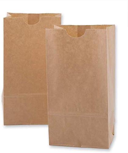 Novel Tech ブラウンペーパーランチバッグ 食料品バッグ 丈夫なクラフトペーパーバッグ 500枚パック (3ポンド)