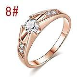 Pstars Women Popular Round Zircon Micro-Inlaid Lover Wedding Ring Plated Rose Gold Jewelry
