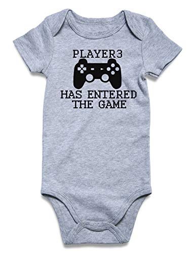 Funnycokid Toddler Romper Player 3 Has Entered The Game Boys Girls Infant One Piece Bodysuit Romper 1st Birthday Gift 6-12 Months (For Game Baby)