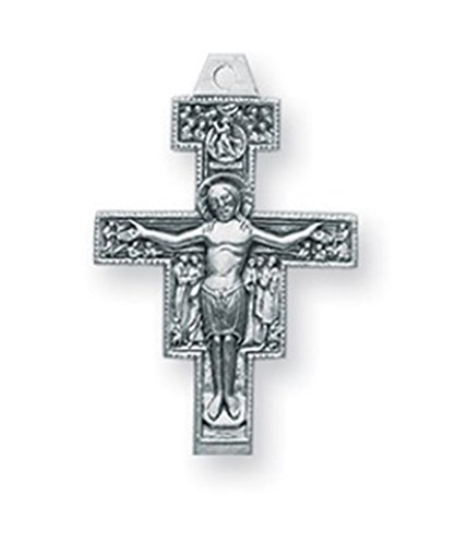 Sterling Silver San Damiano Crucifix Medal Pendant, 13/16 ()