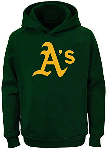 Outerstuff MLB Kids 4-7 Team Color Polyester Performance Primary Logo Pullover Sweatshirt Hoodie (5/6, Oakland Athletics)