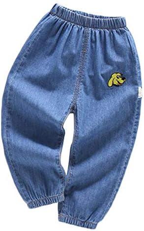 子供服 デニムパンツ ズボン 男の子 ボトムス 刺繍 ウエストゴム コットン 薄手 夏服 カジュアル ゆったり 大きいサイズ