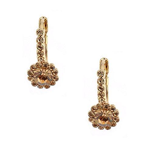 Topwholesalejewel Wedding Jewelry Gold Plated Light Colorado Topaz Hoop Dangle Round Stud Earrings - Light Colorado Topaz Gold Plated