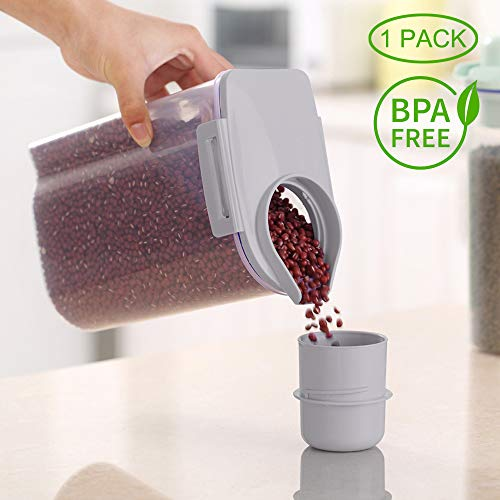 Ansee Cereal Container Dog Food Storage Containers with Airtight Design Pour Spout Measuring Cup BPA-Free Dry Food Cereal Dispenser for Flour Rice Snacks (1 Pack Gray)