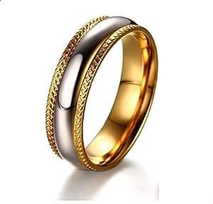 خاتم زوجين ذهبي وفضي مقاس 7
