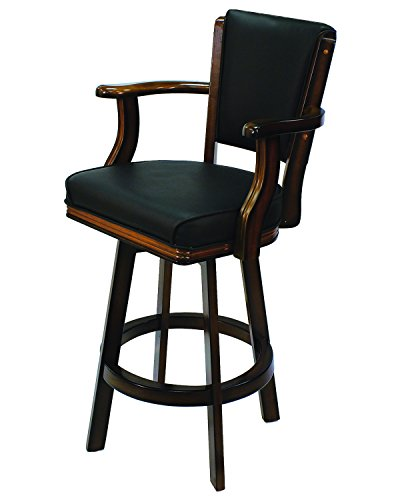 RAM Gameroom Products Swivel Barstool with Arms, Chestnut Finish