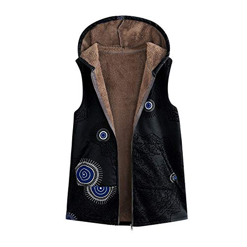 JOFOW Womens Hooded Vest Sleeveless Jackets Boho Ethnic Totem Print Fleece Lined Vintage Warm Padded Parka Coat Plus Size (M =US:2-4,Black)