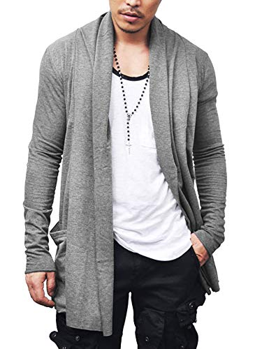 JINIDU Men's Ruffle Shawl Collar Cardigan Lightweight Cotton Blend Long Length Drape -