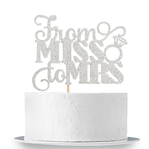 Silver Glitter From Miss To Mrs Cake Topper - Bridal Shower Party Decorations -
