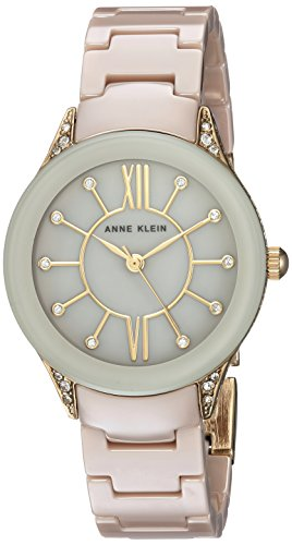 Anne Klein Women's AK/2388TNGB Swarovski Crystal Accented Gold-Tone and Tan Ceramic Bracelet Watch