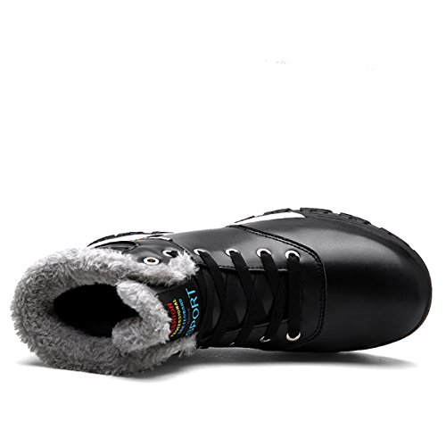 COFACE Herren Warmer Ihnengefüllter Schneestiefel Winterstiefel Kurzschaft Wasserdicht Turnschuhe Bequem Sneaker Outdoor Boots Stiefel Für Winter Schwarz