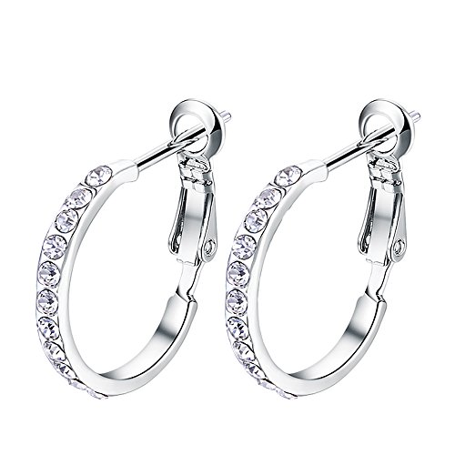 (HZSIKAO Women's Stainless Steel Pierced Hoop Earrings Cubic Zirconia for Teen/Girls)