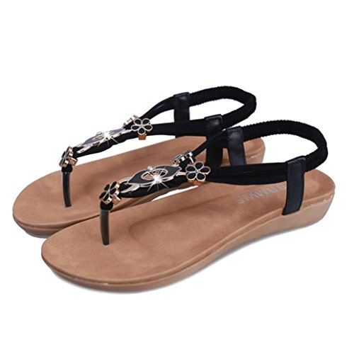 Clode® Womens Sandals, Fashion Elegant Ladies Girls Summer Beaded PU Leather Strap Clip Toe Y-Strap Flat Sandals Beach Shoes Black