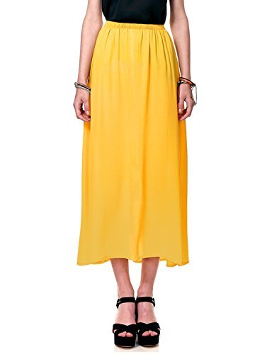 Regna X Boho for Woman's Cool Under Knee Lightweight Yellow 3XL Plus Maternity Tall Full Long Chiffon Dress Skirt -