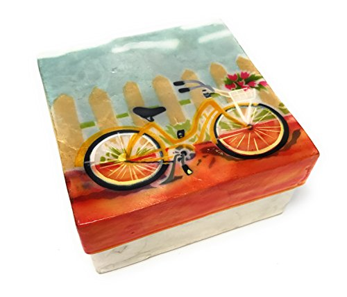 Kubla Craft Vintage Beach Bike Capiz Shell Keepsake Box, 4 Inches Square