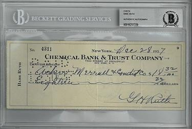 Sports Memorabilia Babe Ruth Signed 1937 Chemical