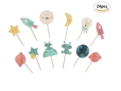 Price comparison product image 24pcs Outer Space Dog Cupcake Toppers Rocket Themed Party Aliens Cake Decorative
