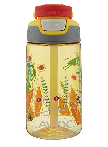Avex Kids Freestyle Bugs Autospout Water Bottle, Yellow, 16 oz