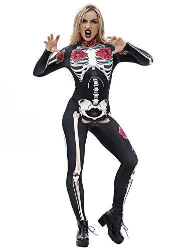 Modern Family Halloween Costumes 2019 (URVIP Women Halloween Skeleton Costume Stretch Skinny Catsuit Jumpsuit Bodysuit BAX-009)