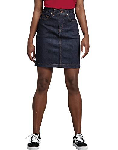 Dickies Women's Perfect Shape Denim Skirt, Rinsed Indigo Blue, 16