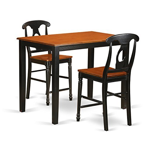 East West Furniture YAKE3-BLK-W 3 Piece Counter Height Pub Table and 2 Bar Stools with Backs Set, Black/Cherry Finish ()