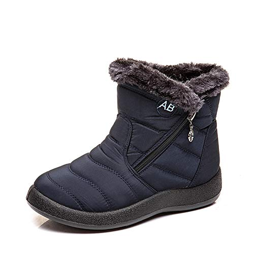 HAPPYSTORE Women Boots Snow Warm Outdoor Fur Lining Winter Shoes Anti-Slip Lightweight Ankle Bootie