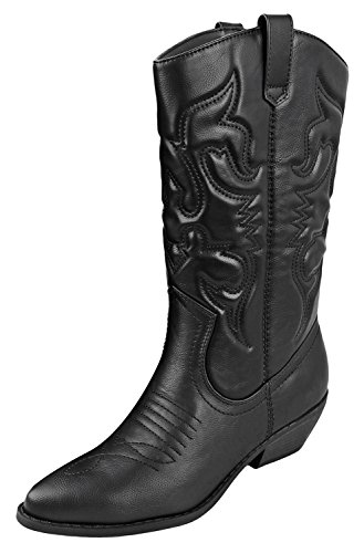 - SODA Women's Red Reno Western Cowboy Pointed Toe Knee High Pull On Tabs Boots Black Pu Size (5.5)