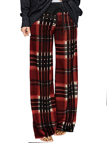 WD-Amour Women's Comfy Stretch Floral Print Drawstring Palazzo Wide Leg Lounge Pants (Medium, Red)