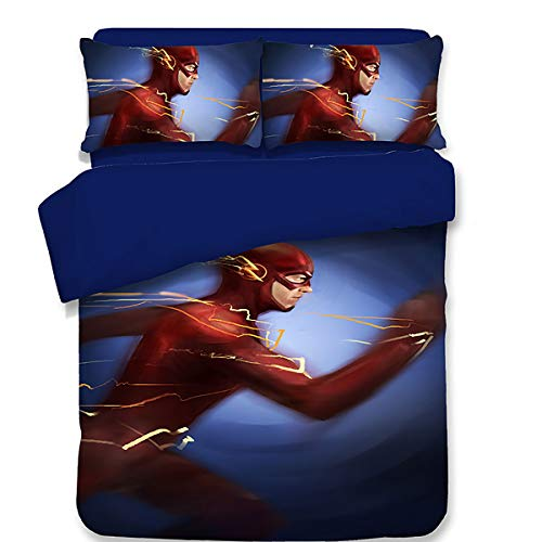 - LBHE Ultra Soft Microfiber Flash Bedding Set,for Teenagers,Kids Cartoon Anime 3 Pcs,Includes 1 Duvet Cover, 2 Pillow Shams,C,Queen