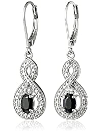 Sterling Silver Genuine Sapphire and White Topaz Infinity Dangle Lever Back Drop Earrings