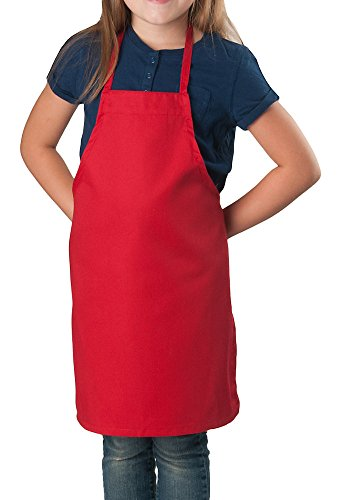 6 Pack - Red Kids Apron, Small Bib by KNG