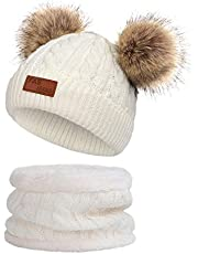 YOVONA Infant Toddler Beanie Pompom Hat Winter Warm Baby Boys Girls Knitted Neckwarmer Cap Set for Kids 1-3T