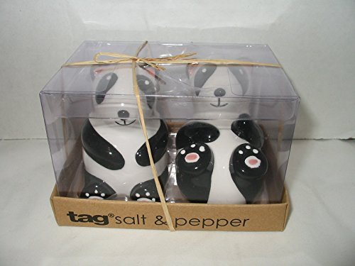 - 3-d Figural Panda Bear Salt and Pepper Shakers Set Hand Painted By TAG