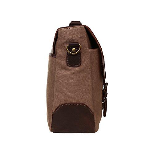 aca4fecc0 Rustic Town Handmade Leather Canvas Vintage Crossbody Messenger Bag Gift  Men Women Travel Work ~ Carry