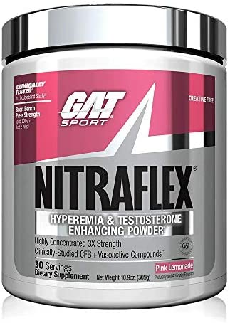 GAT Sport NITRAFLEX, Testosterone Boosting Powder, Increases Blood Flow, Boosts Strength and Energy, Improves Exercise Performance, Creatine-Free Pink Lemonade, 30 Servings
