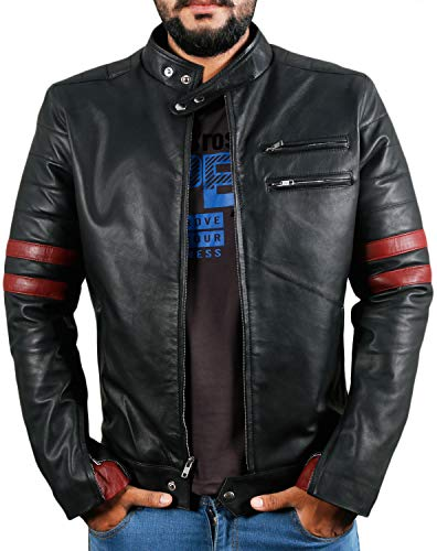 Laverapelle Men's Genuine Lambskin Leather Jacket (Black, Large, Polyester Lining) - 1501535