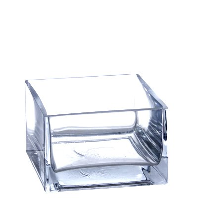 Vase 8 Square (Clear Square Low Block Pan Glass Vase - Open: 6