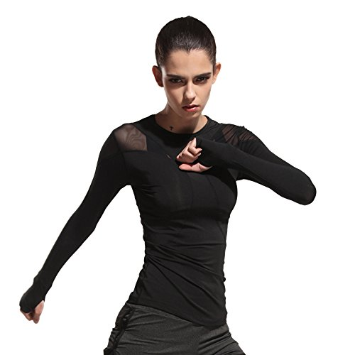J-pinno Women's Sports Mesh Sexy Long Sleeve Tees Tops Athletic Running Yoga Fast Dry Fit T-shirts (L (bust 33