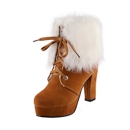 ENMAYER Womens Suede Furry Platform Round toe Lace up Block High Heel Party Dress Ankle Boots Yellow