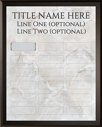 (Employee of The Month DIY Perpetual Silver Marble Plaque Magic Recognition Award Kit - 18 Plate Model - Fully Customizable - Salesperson of The Month - No Engraving Needed Do It Yourself )