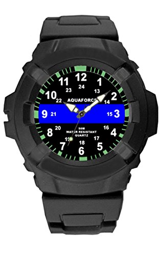 Aquaforce Frontier Mens Police Blue Line Watch with Combat Case - 50m Water Resistant