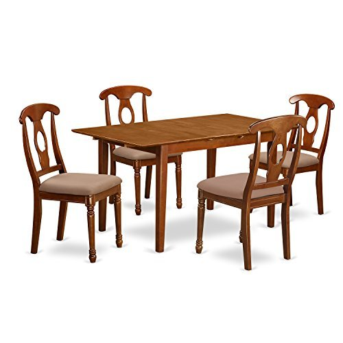 East West Furniture PSNA5-SBR-C 5-Piece Kitchen Table Set