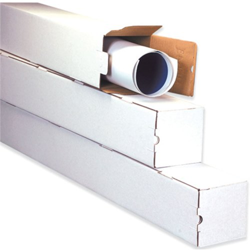 "M3330 Corrugated Square Mailing Tube, 30"" Length x 3"" Width x 3"" Height, Oyster White (Bundle of 25)"